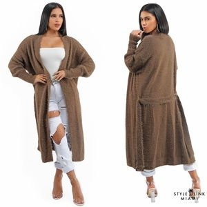 Mocha Long Knit Fuzzy Cardigan
